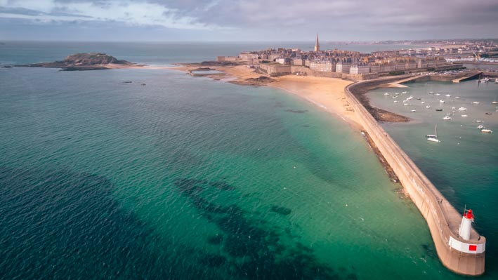 Drone photography of Saint-Malo's town in Brittany (France)
