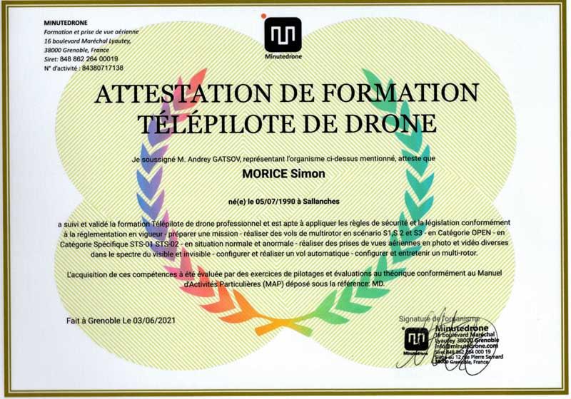 Certification de formation pratique de pilote de drone